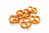 Salty Pretzels Over a White Background — Stock Photo