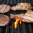 Beef and Pork on a Flaming Grill — Stock Photo #45323357