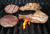 Beef and Pork on a Flaming Grill — Stockfoto