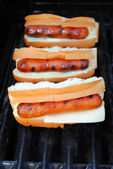 Melting Cheese on Buns with Hotdogs — Stock fotografie