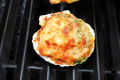 Stuffed Clam on a Summer Grill — Stock Photo