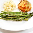 A Vegetarian Meal of Stuffed Clam, Asparagus and Pasta — Stock Photo #46393571