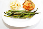 A Vegetarian Meal of Stuffed Clam, Asparagus and Pasta — Stock Photo