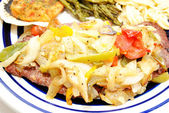Cube Steak Smothered with Fried Onions and Peppers — Stok fotoğraf