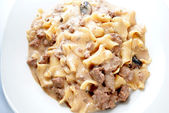 Beef Stroganoff with Fresh Mushrooms Served on a Plate — Stock Photo