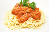 Pasta with Meat Sauce and Fresh Parsley — Stock Photo