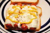 Cheesy Hotdog Sandwich with Mustard and Onions — Stock Photo