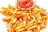 Seasoned French Fries Served with Ketsup — Stock Photo