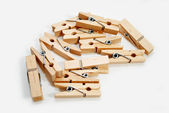A Cluster of Old Wooden Clothes Pins — Zdjęcie stockowe
