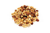 A Heap of Nutty Trail Mix on White — Stock Photo
