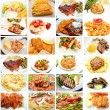 Restaurant Meals Collage — Stock Photo
