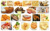 Gourmet Restaurant Seafood Dishes Collage — Stock Photo