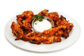 Hot and Spicy Buffalo Wings with Dipping Sauce — Stock Photo