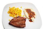 Meal of Lean Grilled Steak with Mashed Potato and Corn — Stock Photo