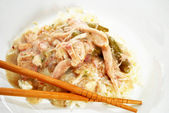 Chicken Gravy on Rice with Chop Sticks — Stock Photo