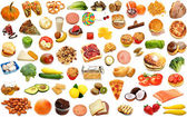 Random Foods Collage Isolated Over White — Stock Photo