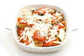 Casserole Dish Full of Eggplant Parmesan — Stock Photo