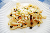 Close Up of Bowtie Pasta with Crumbles Asiago Cheese — Stock Photo