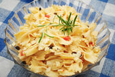 Large Bowl Of Bowtie Pasta with Fresh Rosemary — Stock Photo