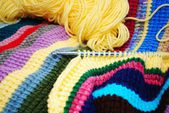 Chroceting a Colorful Striped Afghan — Stock Photo