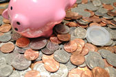 Piggy Bank with American Coins — Stock Photo