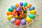 Traditional Easter Treats-Dyed Eggs Jelly Beans — Stock Photo