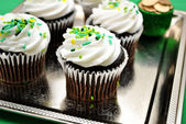 Chocolate Cupcakes on a Silver Tray — Stock Photo