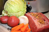 Slow Cooker Corned Beef Ingredients — Stock Photo