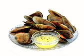 Mussels with Melted Butter — Stock Photo