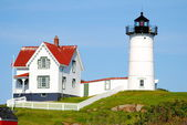 Close-Up of Cape Neddick Lighthouse, Maine, Usa — Foto de Stock