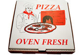 Fast Food Pizza Pie Box Over a White Background — Stock Photo