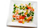 White Rice with a Variety of Mixed Veggies — Stock Photo