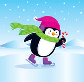 Cute Penguin Ice Skating and Holding A Candy Cane — Stock Vector