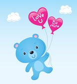 Cute Blue Bear Floating with Heart Balloons — Stock Vector
