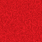 Seamless Red Swirl Heart Pattern — Stok Vektör