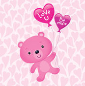Pink Valentine's Day Bear Floating with Heart Shaped Balloons — Stock Photo