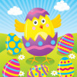 Baby Chick Hatching from Colored Easter Egg — Stock Photo
