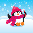 Cute Penguin Sitting in the Snow with a Candy Cane — Stock Photo