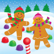 Gingerbread Boy and Girl in the Snow — Stock Photo