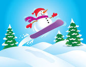 Snowboarding Snowman — Stock Photo