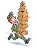 Delivery Guy Running with a Stack of Packages — Stock Photo
