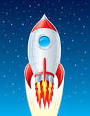 Rocket Ship Blasting Up Through Space — Stock Photo