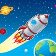 Rocket Ship Blasting Through Space — Stock Photo