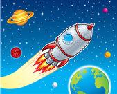 Rocket Ship Blasting Through Space — Stock Photo