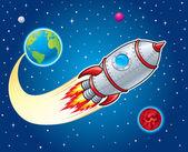 Rocket Ship Blasting from Earth — Stock Photo