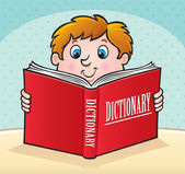 Kid Reading a Large Red Dictionary — Stock Photo