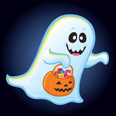 Ghost with Trick or Treat Pumpkin Pail — Stock Photo