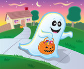 Ghost Trick or Treating in a Neighborhood on Halloween — Stock Photo