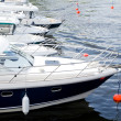 Boats bow in marina Baltic Sea. — Stock Photo #48293611