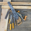 Set of vintage carpenter tools — Stock Photo